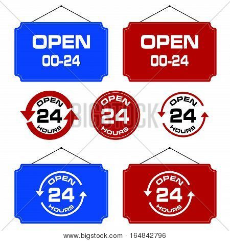 24 Hour Open Icon Signboard Design Set Illustration