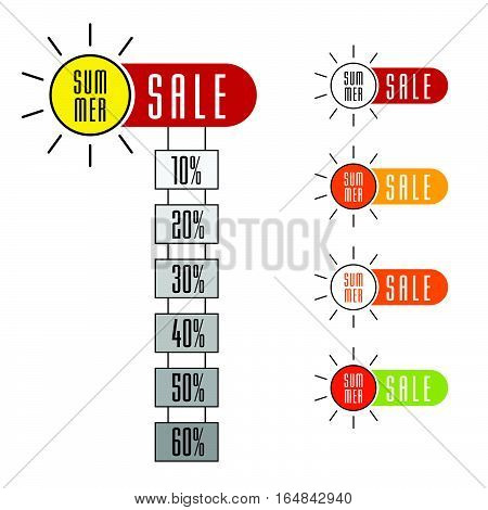 Summer Sale Sign Set With Sun Design Illustration