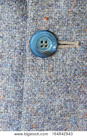 Blue button on a blue grey tweed jacket.