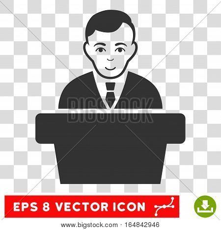 Politician EPS vector pictogram. Illustration style is flat iconic gray symbol on chess transparent background.