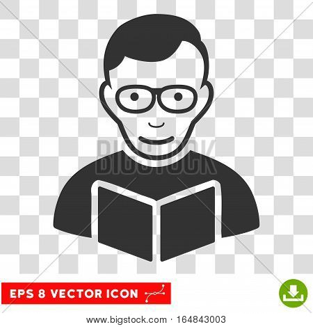 Reader EPS vector icon. Illustration style is flat iconic gray symbol on chess transparent background.