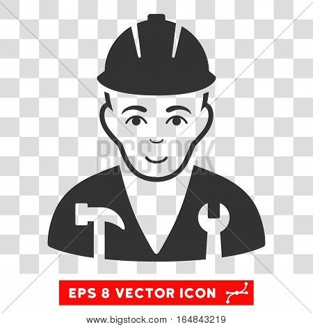 Serviceman EPS vector pictogram. Illustration style is flat iconic gray symbol on chess transparent background.
