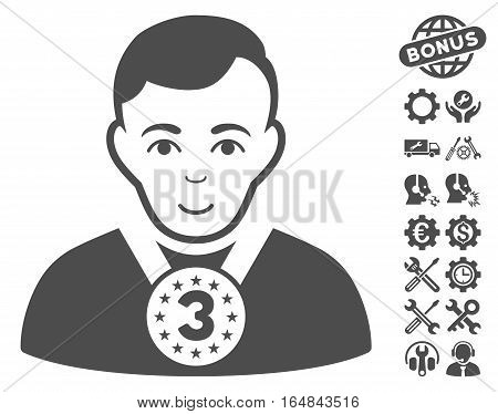 3rd Prizer Sportsman icon with bonus setup tools clip art. Vector illustration style is flat iconic gray symbols on white background.