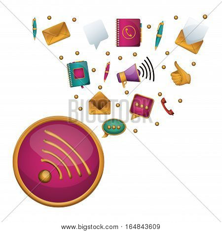 Wifi social media and multimedia icon set icon. Apps communication and digital marketing theme. Isolated design. Vector illustration