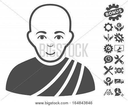 Buddhist Monk icon with bonus settings images. Vector illustration style is flat iconic gray symbols on white background.