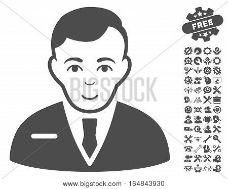 Businessman pictograph with bonus setup tools pictograph collection. Vector illustration style is flat iconic gray symbols on white background.
