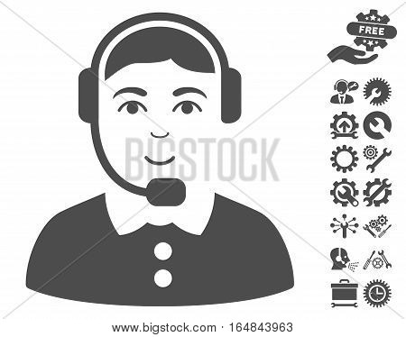 Call Center Operator pictograph with bonus options design elements. Vector illustration style is flat iconic gray symbols on white background.