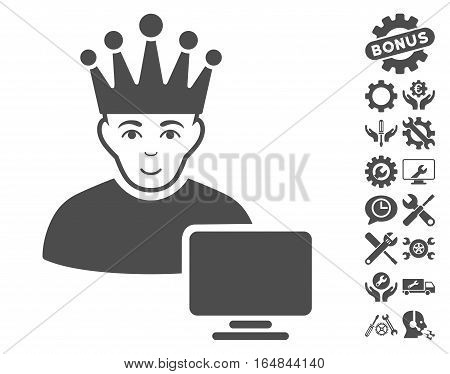 Computer Moderator icon with bonus service pictures. Vector illustration style is flat iconic gray symbols on white background.