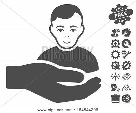 Customer Support Hand pictograph with bonus configuration design elements. Vector illustration style is flat iconic gray symbols on white background.