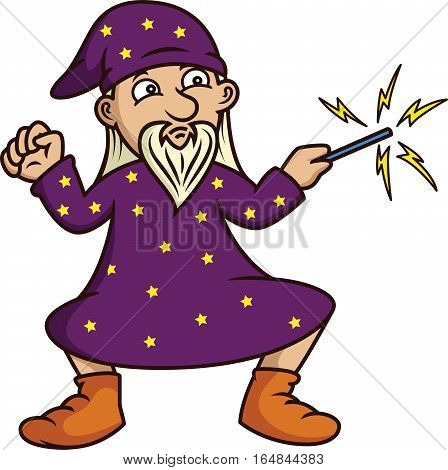Wizard with Magic Wand Cartoon Isolated on White