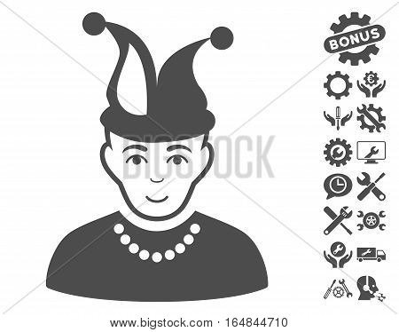 Fool pictograph with bonus configuration design elements. Vector illustration style is flat iconic gray symbols on white background.