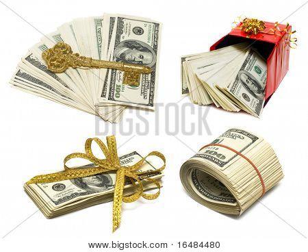 copula of dollars on white background