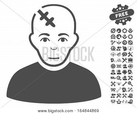 Head Hurt pictograph with bonus configuration graphic icons. Vector illustration style is flat iconic gray symbols on white background.