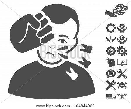 Head Strike icon with bonus setup tools images. Vector illustration style is flat iconic gray symbols on white background.