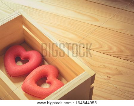 Two Hearts Are In Wooden Boxes , Vintage