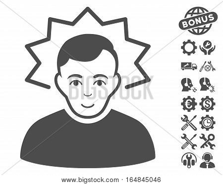Inventor pictograph with bonus service symbols. Vector illustration style is flat iconic gray symbols on white background.