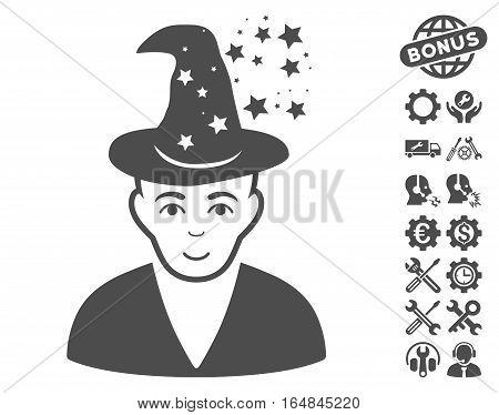Magic Master icon with bonus options images. Vector illustration style is flat iconic gray symbols on white background.