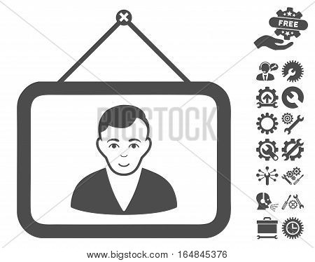 Man Portrait icon with bonus configuration pictograph collection. Vector illustration style is flat iconic gray symbols on white background.
