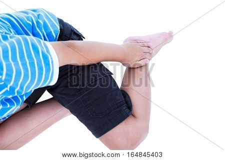 Child Injured At Heel. Isolated On White Background.