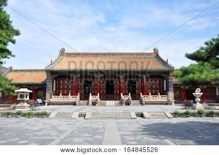 Shenyang Imperial Palace (Mukden Palace) Chongzheng Hall, Shenyang, Liaoning Province, China. Shenyang Imperial Palace is UNESCO world heritage site built in 400 years ago.