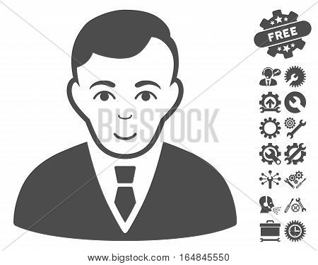 Manager icon with bonus configuration pictures. Vector illustration style is flat iconic gray symbols on white background.
