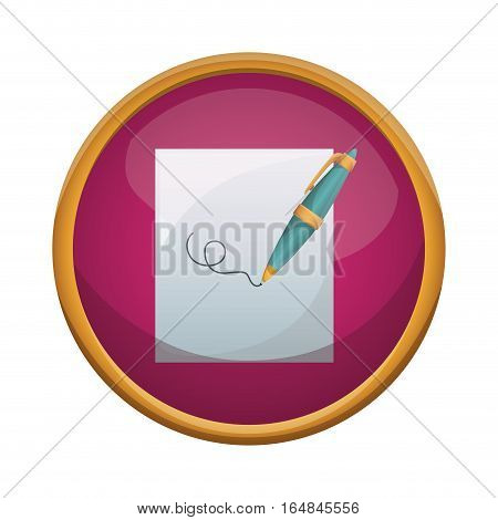 Pen tool and paper icon. Write office object and instrument theme. Isolated design. Vector illustration
