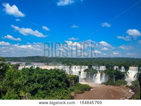 Aerial view of one of the worlds largest and most impressive waterfalls of Iguacu National Park, UNESCO World Heritage Site in Foz de Iguacu at Parana State, Brazil