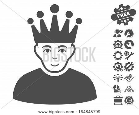 Moderator pictograph with bonus tools images. Vector illustration style is flat iconic gray symbols on white background.