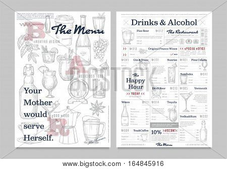 Restaurant or cafe menu vintage design vector illustration. Drinks, cocktail and alcohol brochure, bar or pub flyer with sketches. Corporate identity restaurant menu template with hand drawn graphic.