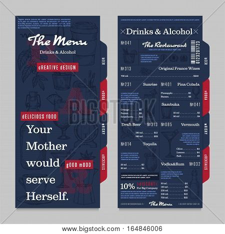 Restaurant or cafe menu vintage vector illustration. Desserts brochure, sweet pastry and ice cream, cafe price catalog. Corporate identity restaurant menu with hand drawn graphic. Food menu template. Layout of restaurant menu board with alcohol map