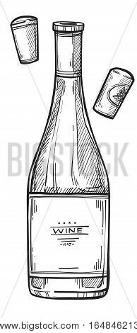 Wine bottle freehand pencil drawing isolated on white background vector illustration. Wine bottle with cork sketch in vintage style. Alcohol icon for bar, pub or restaurant menu. Hand drawn wine bottle. Wine concept.