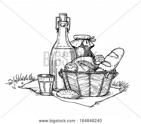 Farm food set freehand pencil drawing isolated on white background vector illustration. Bottle with milk and fresh homemade bread in basket. Organic nature product, traditional picnic, healthy food. Hand drawn farm food concept. Food sketch.
