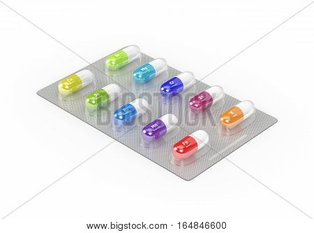 3D Rendering Of Supplements Pills Blister In Pack Isolated Over White Background
