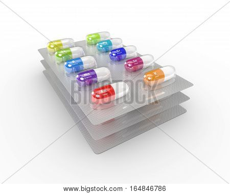 3D Rendering Of Supplements Pills Blisters Isolated Over White Background