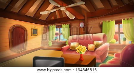 Inside of Tree House, Warm Cabin. Video Game's Digital CG Artwork, Concept Illustration, Realistic Cartoon Style Background