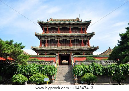 Shenyang Imperial Palace (Mukden Palace) Phoenix Tower (Fenghuang Tower), Shenyang, Liaoning Province, China. Shenyang Imperial Palace is UNESCO world heritage site built in 400 years ago.