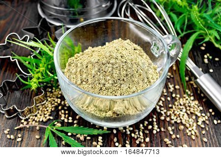 Flour Hemp In Glass Cup With Leaf On Board