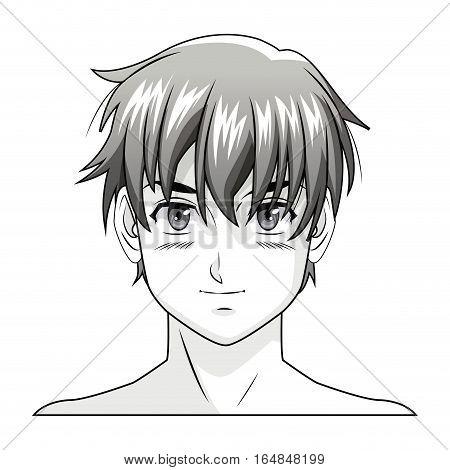 face boy anime manga comic vector illustration eps 10