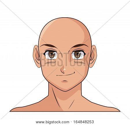 portrait face manga anime male bald smiling vector illustration eps 10