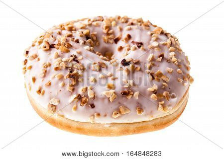 White Hazelnut Donut Isolated