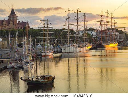 Szczeci,Poland-Circa July 2015:sailing ships at the wharf in Szczecin, Tall Ships Races 2015