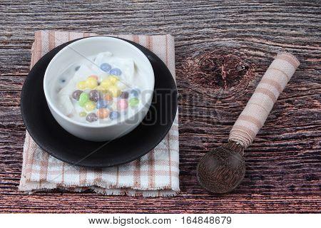 Colorful Dumplings In Coconut Cream, Bua Loi Khai Waan.
