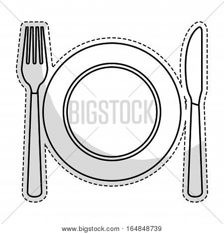sticker of plate with cutlery icon over white background. vector illustraiton