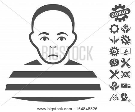 Prisoner icon with bonus options symbols. Vector illustration style is flat iconic gray symbols on white background.