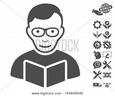 Reader icon with bonus service clip art. Vector illustration style is flat iconic gray symbols on white background.