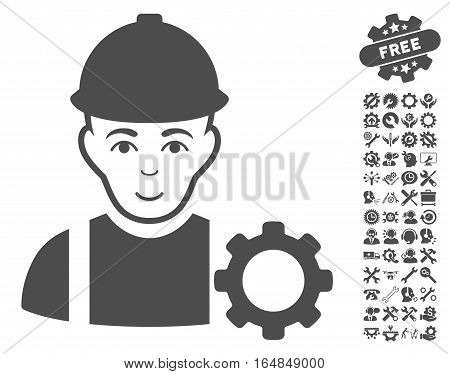Repairman icon with bonus configuration pictograph collection. Vector illustration style is flat iconic gray symbols on white background.