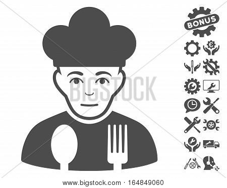 Sad Cook icon with bonus setup tools clip art. Vector illustration style is flat iconic gray symbols on white background.