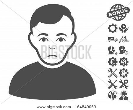 Sad Man pictograph with bonus setup tools pictograms. Vector illustration style is flat iconic gray symbols on white background.
