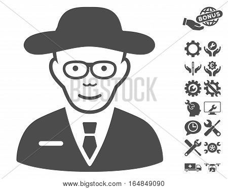 Scientist pictograph with bonus configuration pictures. Vector illustration style is flat iconic gray symbols on white background.