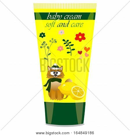 High quality original trendy vector Baby cream tube with kids design and cat, lemon illustration